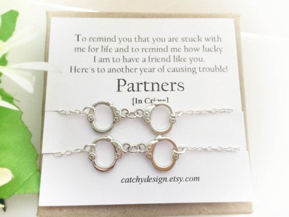 Best friend gift-Set of -2-Partners in crime bracelets,Handcuff bracelet,BFF,with Friendship Quote,Long Distance Friend,Christmas gift by catchydesign