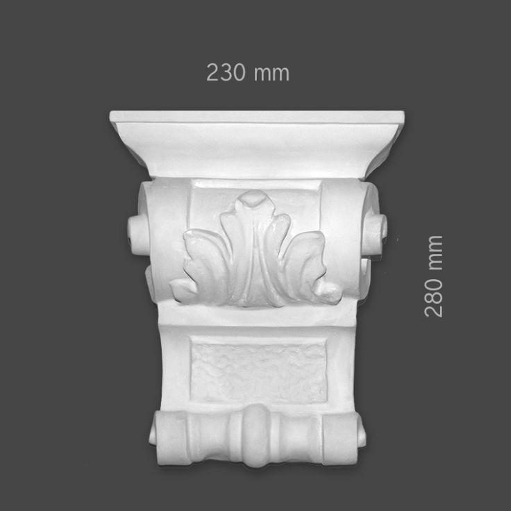 Ett dekorelement för montering på t. ex. eldstad eller vägg. Tillverkad i omålad gips och förstärkt med en inre struktur av glasfiber. Om du önskar beställa stuckaturen grundmålad klicka då på denna länk: http://www.gipsstuckaturer.se/butik/dekorelement-konsoler-sv/ed43-1/ När vi utför montering lämnar vi garanti på tjänsten. Mått: bredd 230 mm, höjd 280 mm,djup 249 Vikt: