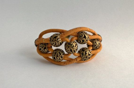 Cork bracelet cork jewelry Portuguese cork orange cork by Kortici