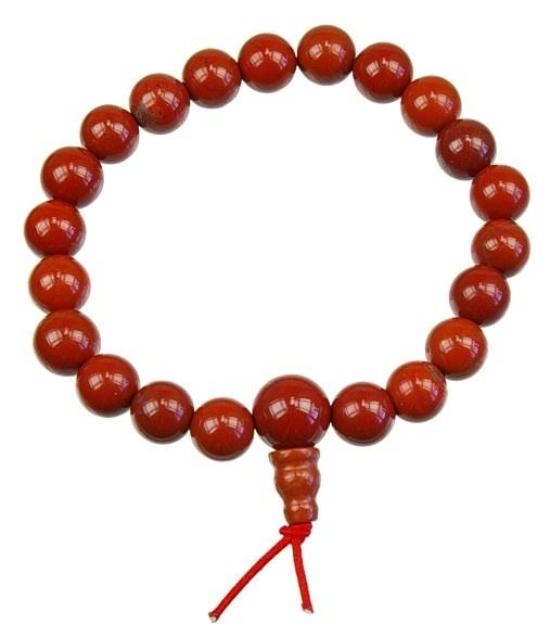 BRACELET MALA TIBÉTAIN - JASPE ROUGE  Le jaspe rouge est un allié pour sortir des périodes de grande fatigue nerveuse ou physique. Il vous redonnera l'énergie et le courage pour vous affirmer et affronter les difficultés de la vie.
