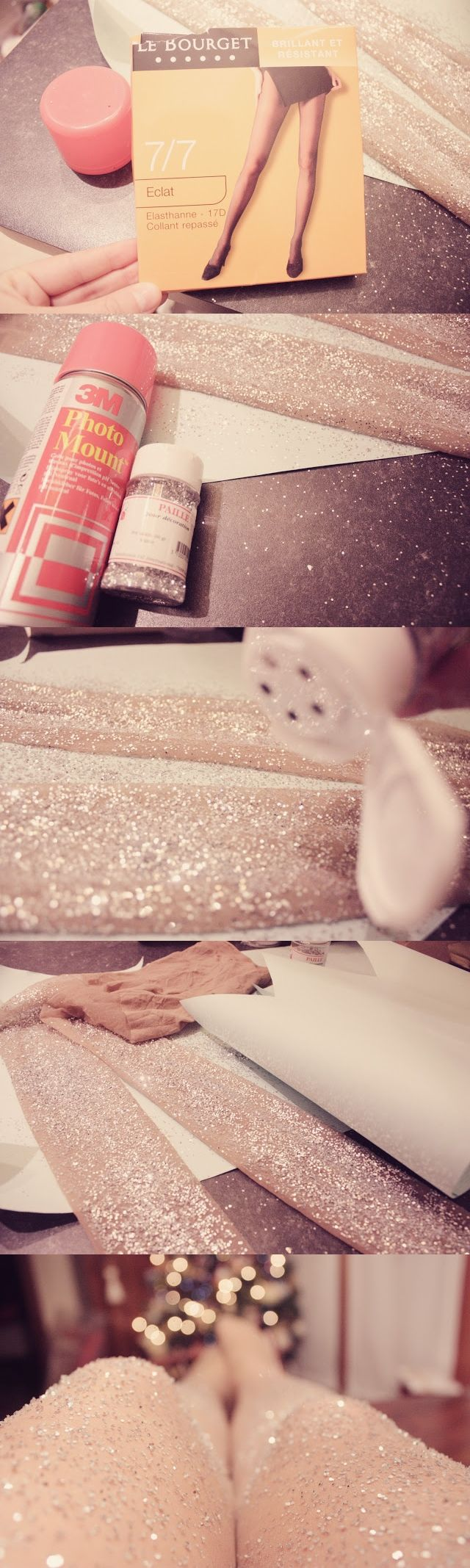DIY glitter tights. Eeeeven tho I just ordered a black pair online... if they suck tho, I am SO making these!!
