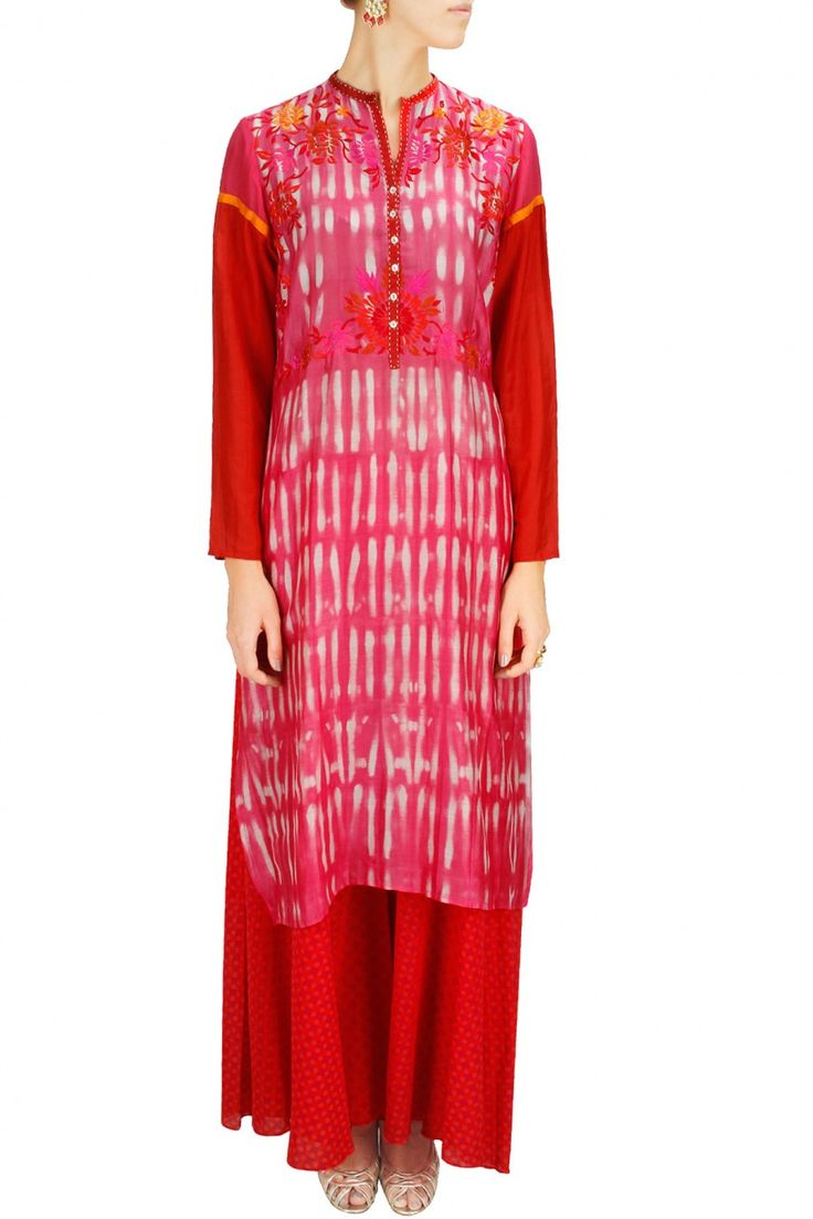 PINK PASSION - Fushcia and red embroidered kurta with red hand block printed palazzos by Krishna Mehta. Shop now at www.perniaspopups... #fashion #designer #krishnamehta #shopping #couture #shopnow #perniaspopupshop #happyshopping