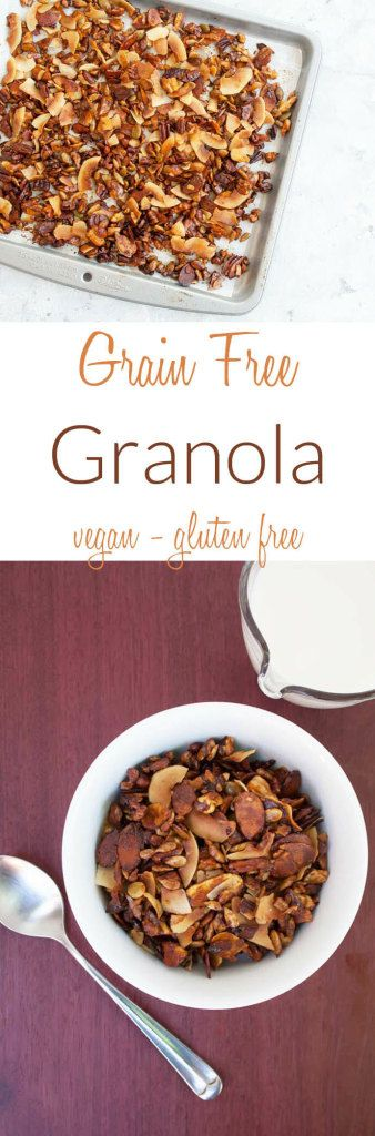 Grain Free Granola (vegan, gluten free) - Whether you are looking to cut back on carbs, or are on a keto diet, this easy protein packed grain free granola is a great way to start your day!