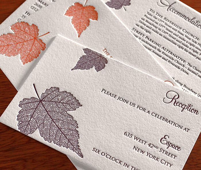 Autumn is perfect for fall or winter weddings with its incredibly intricate maple leafs falling down the side of the invitaiton.  | Invitations by Ajalon | invitationsbyajalon.com