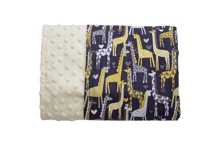 Giraffe Love Reversible Minky Blanket - Levi & Evelyn