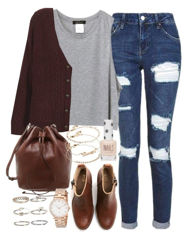 """""""Outfit for college on a casual day with brown boots and a cardigan"""" by ferned on Polyvore featuring Topshop, Whistles, Acne Studios, ASOS, Boohoo and Marc by Marc Jacobs"""