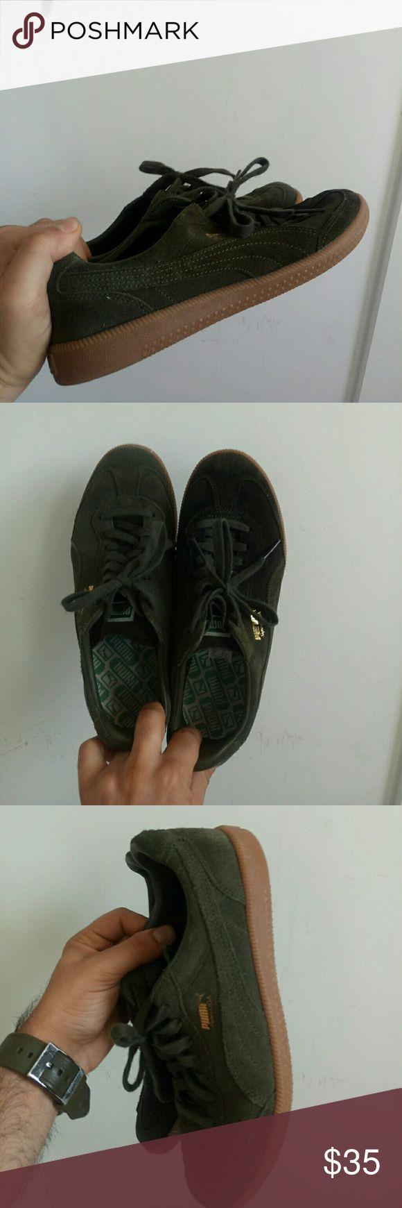 Puma Liga suede military green gum sole Almost never worn puma Liga suede green, casual for every occasion Puma Shoes Sneakers
