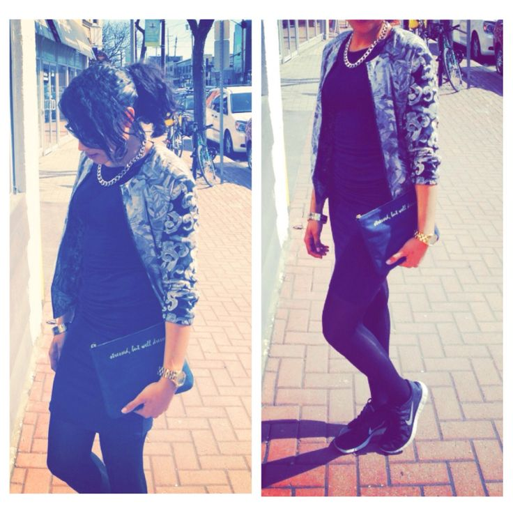 Today's look bomber jacket: Garage Clothing    dress: H&M    shoes: Nike Free 5.0    clutch: Chapters Indigo    jewelry: Forever 21
