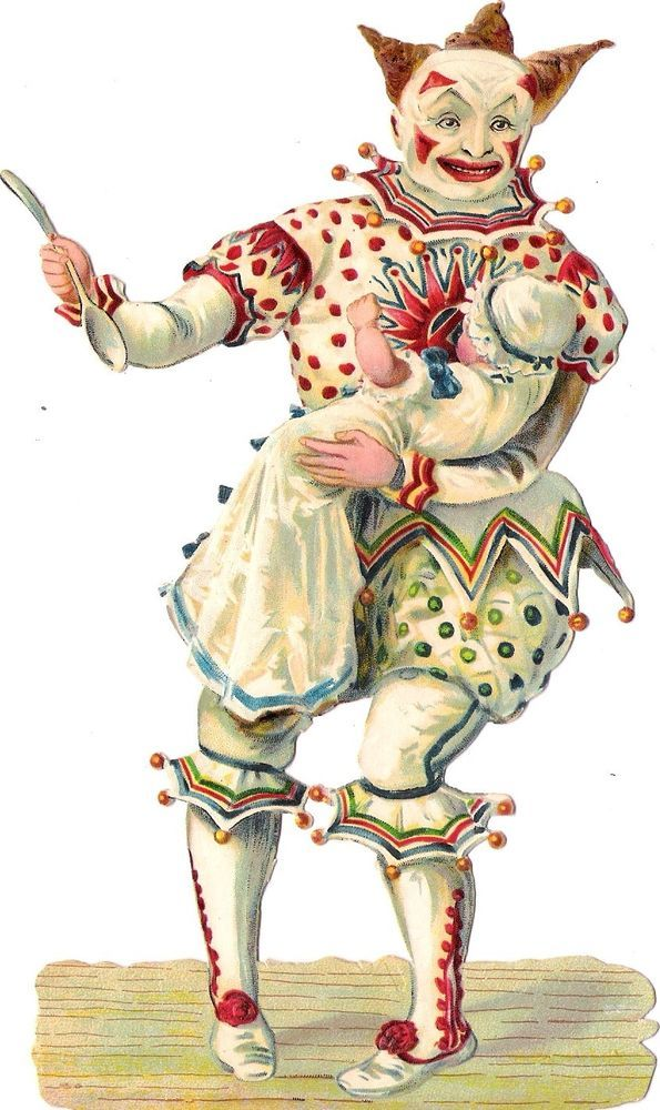 Oblaten Glanzbild scrap die cut chromo Clown 18,3cm  Harlekin pierrot Baby bebe