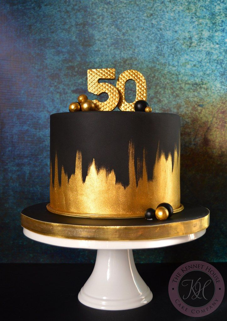 Elegant Birthday Cakes, 60th Birthday Cake For Men, 50th Birthday Cake Toppers, 50th Cake, Pretty Birthday Cakes, Birthday Cake Decorating, Anniversary Cake Designs, 50th Anniversary Cakes, Black And Gold Cake