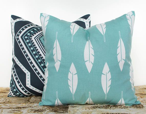 SALE ENDS SOON Teal Pillowcases Feather Pillow Cover