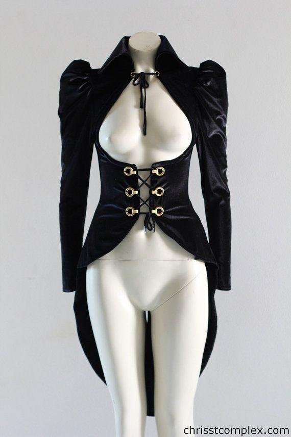 Steampunk Velvet Vest Leather Goth  Jacket  Custom by chrisst