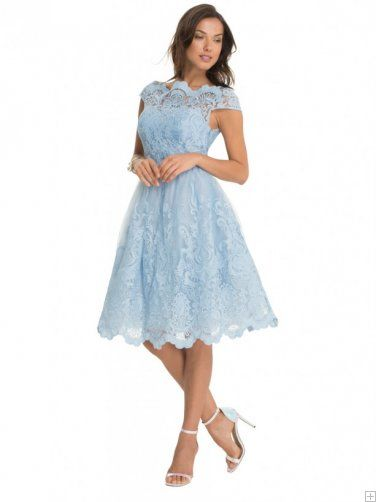 Light sky blue lace cap sleeve a line tea length for Light blue lace wedding dress