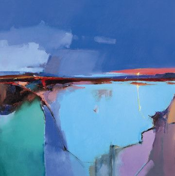 ♒ Art in the Abstract ♒ modern painting by Peter Wileman | Indigo Dawn II