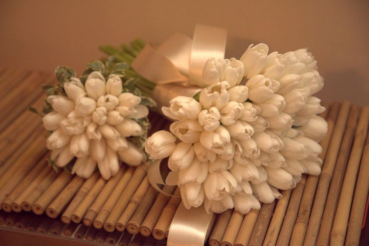 White tulips - bridal and bridesmaid's bouquets