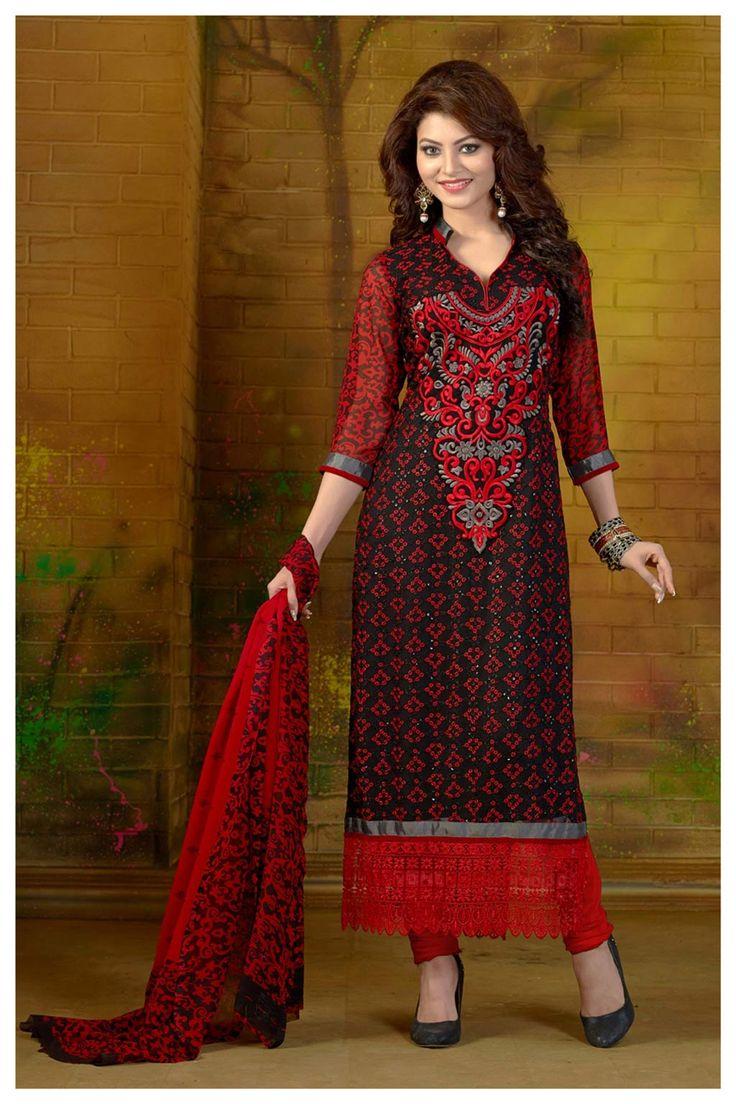 Urvashi Rautela Red Georgette Straight Cut Suit 69880