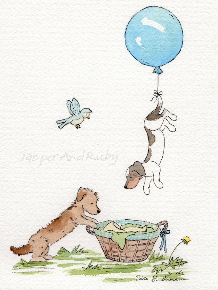 Dachshund Art- Welcome Baby 5x7 Archival Print- Two Dachshunds with Blue Balloon and Baby in a Basket- Nursery Wall Art. $9.00, via Etsy.