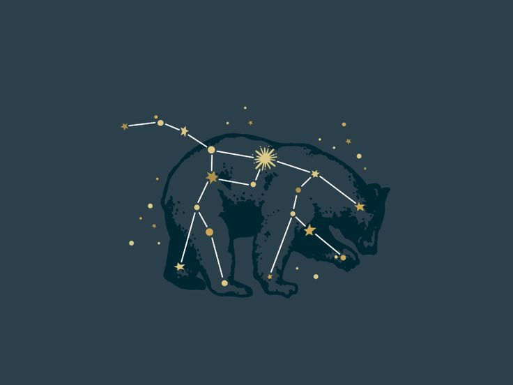 Ursa Major Constellation Poner en zul oscuro al oso y en amarillo o blanco las estrellas. Casi mejor las lineas en blanco de unión y las estrellas amarillo-blanco