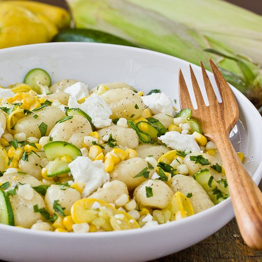 gnocchi with squash + sweet corn [via the kitchn]Corn Recipes, Sweets Corn, Gnocchi, Summer Salad, Summer Squashes, Pasta Salad Recipe, Goats Cheese, Goat Cheese, Squashes Sweets