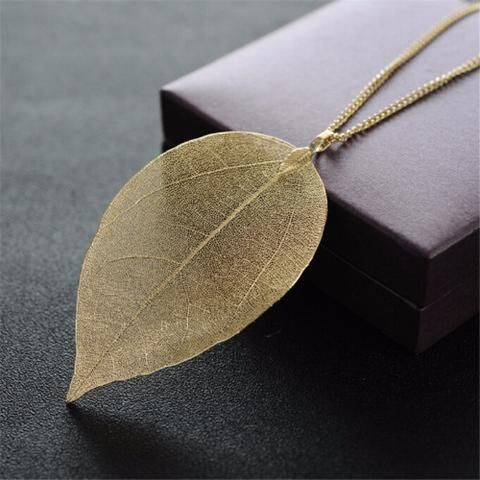 Fading Leaf Skeleton Pendant Necklace  #bohemian #jewelry #art #elegance #nature #bsq #bsqaccessories #necklace