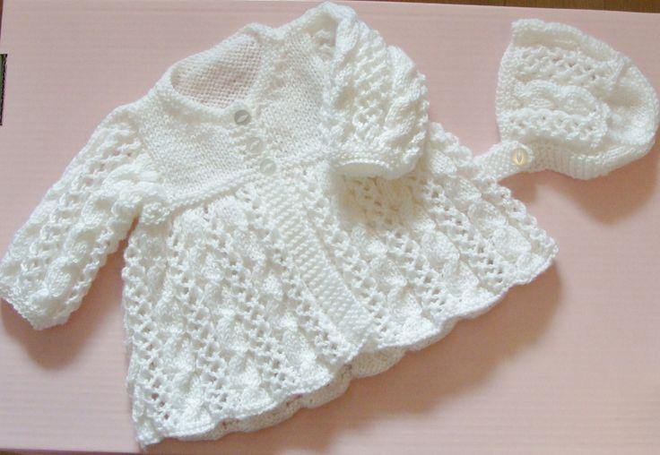 Ensemble de baptême Manteau et bonnet blanc taille 3 mois : Mode Bébé par danielaine-tricots-enfants
