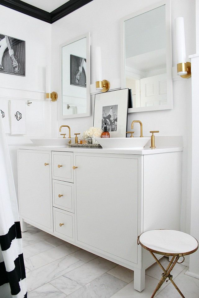 Full source list for this black, white, gold, and marble bathroom makeover