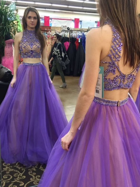 Prom Dress, Purple Dress, Two Piece Dress, Long Dress, Two Piece Prom Dress, High Neck Dress, Light Purple Dress, Purple Prom Dress, Long Prom Dress, Long Purple Dress, Dress Prom, Purple Long Dress, High Neck Prom Dress