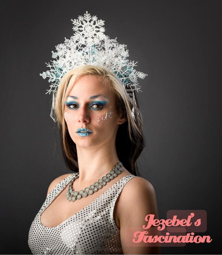 Ice Maiden - Glitter Snow Flake Queen Crown Elsa Fairy Bridal Princess Headdress Frozen Winter Lady Fascinator Blue Headpiece Costume Party Headband Ice Sickle Christmas Halloween Accessory - pinned by pin4etsy.com