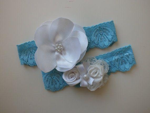FREE SHIP blue garters  flowers garters wedding garters by geranum, $18.00