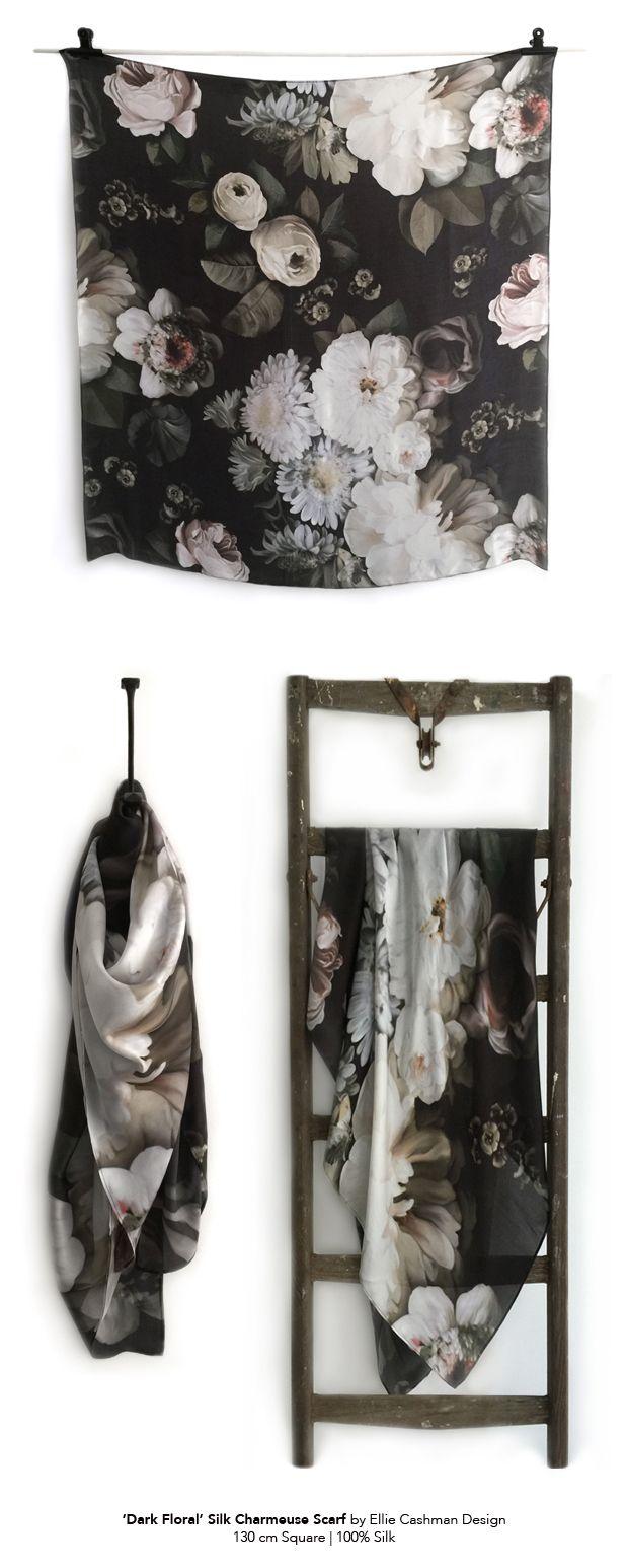 Black floral print wallpaper dark floral wallpaper by ellie cashman - Large Scale Dark Floral Prints By Ellie Cashman Design