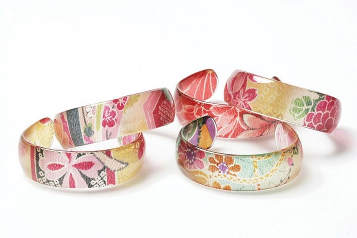Kimono Bangles. Made from Japanese kimono silks in resin, so every bangle is unique.