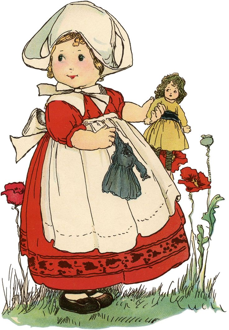 Today I'm sharing this Vintage Little Dutch Girl with Doll Drawing! This cute little girl wears a red dress with black embroidery and a cream cap and pinafore with a big bow in back. She is holding a doll in a golden dress and has a teal dress for the doll in her other hand....Read More » #scrapbookprintables