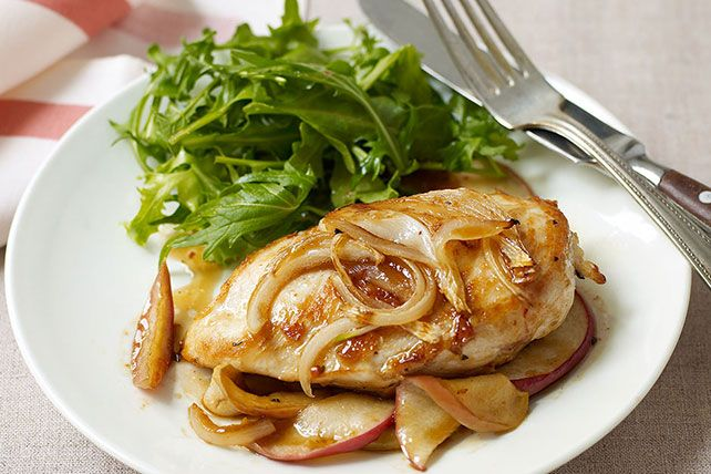 Chicken breasts get a sweet and savory kick from apples, maple syrup and onions in this simple comfort food dish.