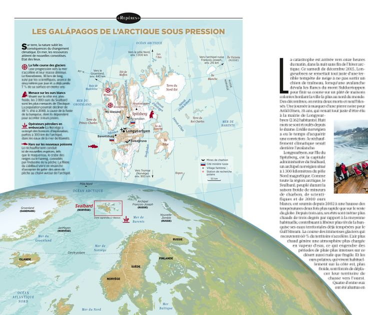 Svalbard (Norway). Maps created by Hugues Piolet for GEO Magazine.