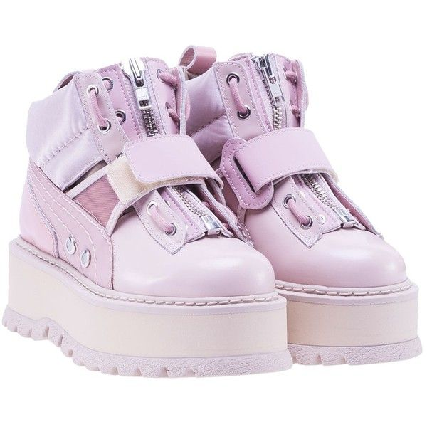 Puma Fenty by Rihanna Platform Lace Up Boots ($266) ❤ liked on Polyvore featuring shoes, boots, pink, womenshoes, genuine leather boots, leather shoes, laced up boots, laced boots and real leather boots