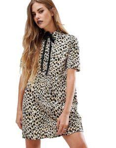 Нарядное платье - Бежевое платье с леопардовым принтом Motel