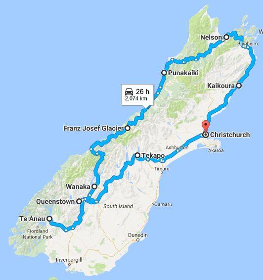 Map of our Two Week New Zealand South Island Road Trip Itinerary