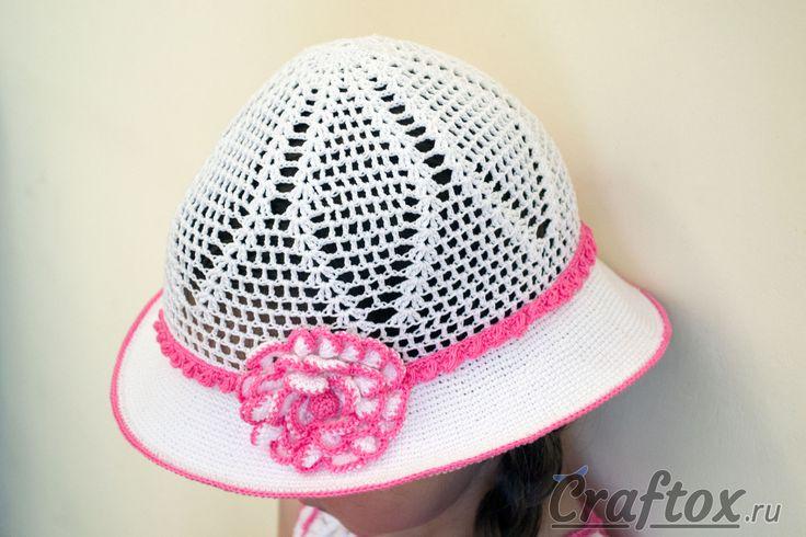 Летняя шляпа с полями и цветком вязаная крючком для девочки. Модель, схема и описание.  #вязаниеКрючком #крючком #вязание #шляпы #шляпки #craftox #цветок