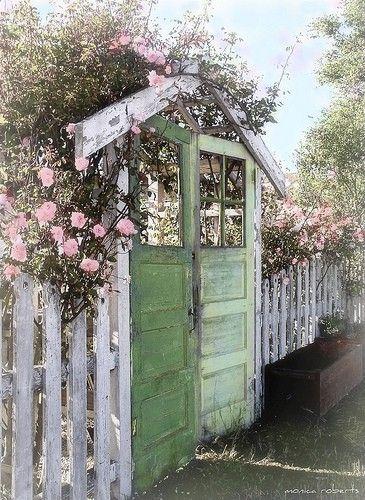 Old doors into garden gates: The Doors, Green Doors, Secret Gardens, Salvaged Doors, Gardens Gates, Gardens Doors, Old Doors, White Picket Fence, Vintage Doors