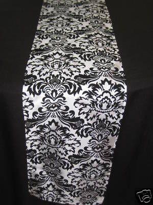 Black White Damask Wedding Table Runner Tablerunner | eBay great buy!
