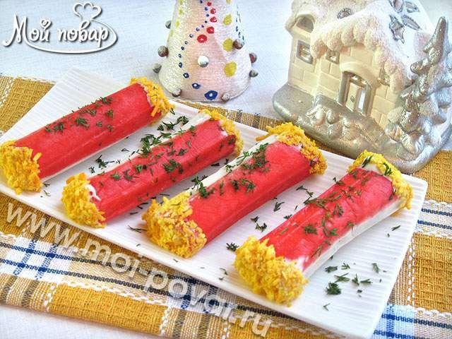 Крабовые палочки, фаршированные креветками и сыром
