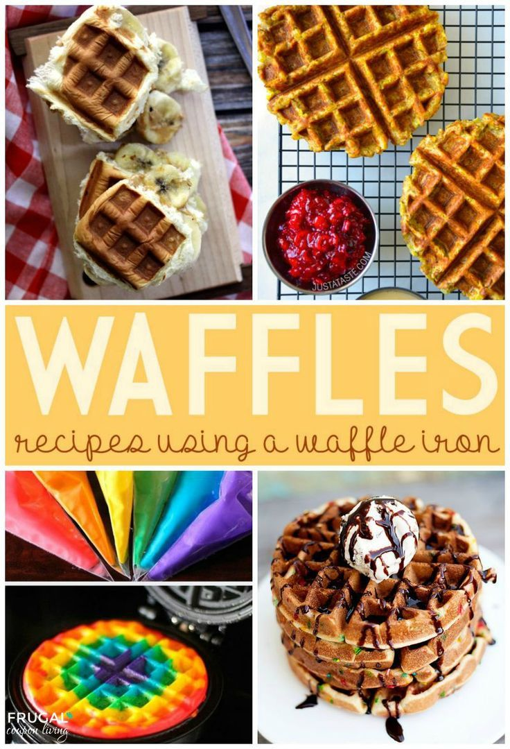 Waffle Iron Recipe Ideas on Fugal Coupon Living - The Kings Waffled Peanut Butter and Banana Sliders, Leftover Thanksgiving Stuffing Waffles, Rainbow Waffles, and Funfetti Cake Waffles.
