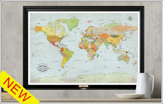 66 best world maps images on pinterest world maps travel cards push pin world travel map personalize your map framed 24x36 gumiabroncs Gallery