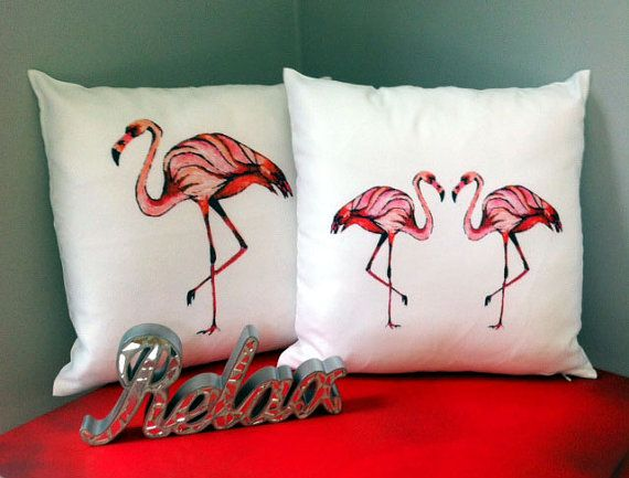 NEON FLAMINGO Cushion covers. Bright Pinks on white. Hoola Vintage shabby chic home decor. on Etsy, £11.99