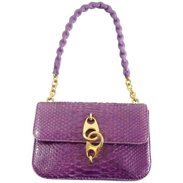 Preowned Tom Ford Purple Python Carine Shouder Bag ($1,800) ❤ liked on Polyvore featuring bags, handbags, shoulder bags, purple, shoulder hand bags, purple shoulder bag, leather shoulder bag, shoulder handbags and white handbag