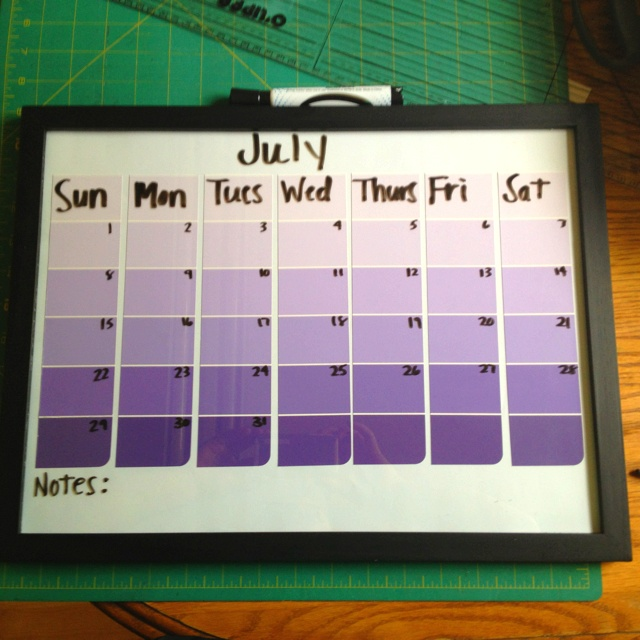 homemade calendar out of paint strips. Put in frame and write with dry erase on glass. Super creative