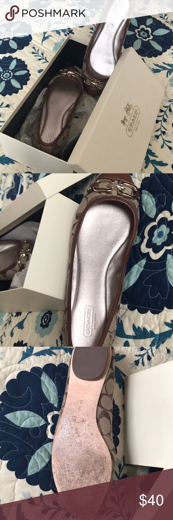 Classic Signature Coach Flats in neutral tones. Classic Coach flats crafted with signature jacquard with a cap toe covered in supple leather and accented in gold. These comfortable and classic flats will serve you well, last a lifetime and will always be in style. Coach Shoes Flats & Loafers