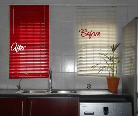 I have these plastic blinds in my kitchen. They're great because they are easy to keep clean - I pop them into the bathtub with some handy andy to soak and then rinse them clean. But over time they do become dull and grungy and rather than replace them I decided to see how they would look with some spray paint. http://www.home-dzine.co.za/crafts/craft-sprayblinds.htm#