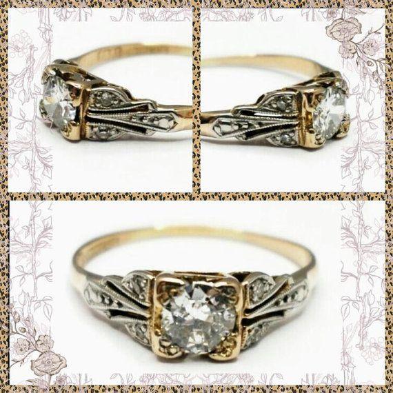 Unique Art Deco Diamond Engagement Ring, 18K Gold & Platinum Handmade, 4.85 mm Diamond, •33 ct, 1930s, Size P, Valuation 2,425 Dollars,