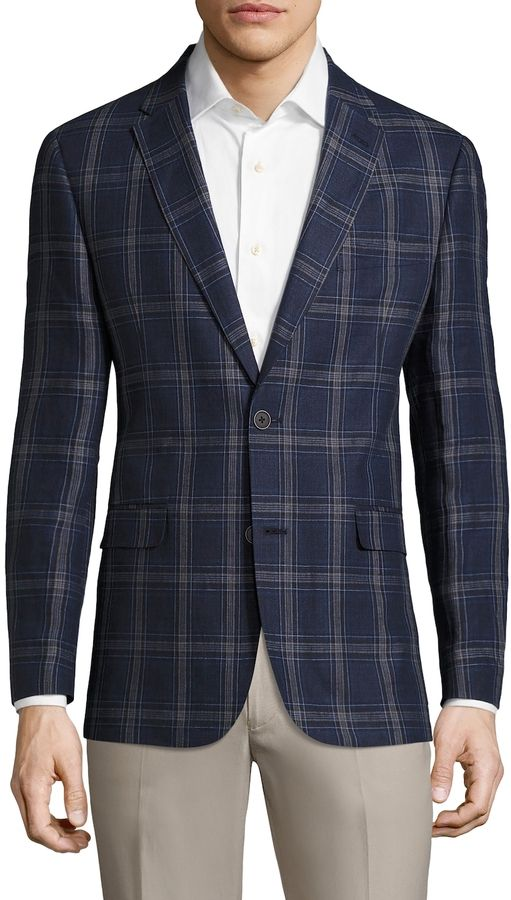 Tommy Hilfiger Suiting Men's Linen Plaid Notch Sportcoat
